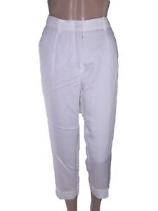 zara pantalone pants donna bianco affusolato lino misto eur m medium