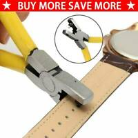 Universal Yellow Hand Leather Strap Watch Band Belt Hole Plier Punch Cutter Tool
