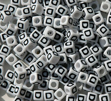 Letter D - 100pc 7mm Alphabet Beads White with Glossy Black Letters