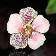 Pink Ceramic Flower Ring use Swarovski Crystal SR113