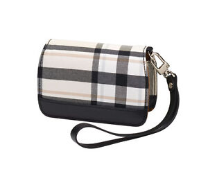 Olympus Premium Slim Leather Compact Camera Case Cream Plaid Style 202195