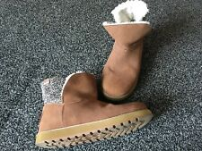 Ladies Quality SKECHERS Suede Ankle Boots Fur Lined Chestnut UK 4 Nearly New