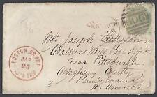 UK GB 1865 US SG 89 PLATE 1 Sc 42a ON COVER TO PITTSBURGH PA W/POSTAGE DUE BOSTO