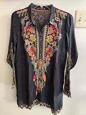 JOHNNY WAS Slate Gray Embroidered Long Tunic Size XS