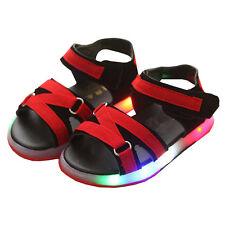 QW Summer Boys Girls LED Light Glitter Sandals Toddler Kids Non-slip Beach Shoes