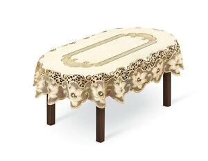 "Tablecloth Oval lace cream/dark gold  NEW 51""x71"" (130x180cm) elegant gift"