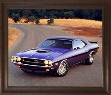 1970 Dodge Hemi Challenger Hot Rod Vintage Muscle Car Wall Decor Framed Picture