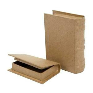 2 x Book Shaped Boxes Craft Hidden Storage Brown Paper Mache Decorate Hand Made