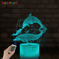 Dolphin Gifts Kids Night Light 3D Illusion Lamp 16 Color Bedroom Decoration Lamp