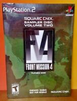BRAND NEW SEALED Front Mission 4 Demo Sampler Disc Volume Two PS2 Playstation 2