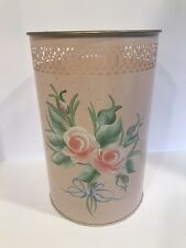 Vintage Tole Painted Wastebasket Pale Pink Roses Retro Cottage Shabby Chic