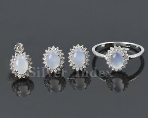 925 Solid Silver Natural Chalcedony Gemstone Ring Earring Pendent Jewelry Set