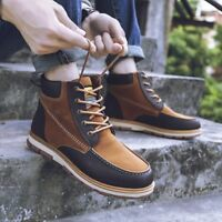 Size 39-46 Winter Men Casual Shoes Ankle Boots Lace-up Flats Boots