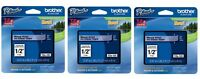 "3 Packs - Brother TZe131 12mm 1/2"" black on clear P-Touch TZ tape - GENUINE"