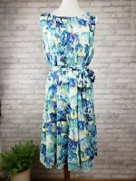 Luxe Carmen Marc Valvo Dress 16 blue watercolor floral sleeveless fit and flare