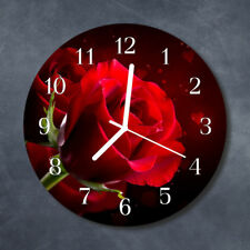 Glass Wall Clock Kitchen Clocks 30 cm round silent Roses Red