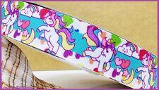 1 metre, UNICORN, 25mm, Ribbon, 1 inch, Rainbow, Grosgrain, Horse, Hearts