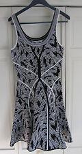New Diane von Furstenberg ILSA Flared Heavy Knit Sleeveless Black White Dress P