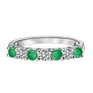 0.75 Cts Round Emerald 10K White Gold May Birthstone Twisted Ring US-7.5