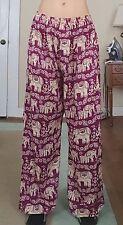 Palazzo Pants Elephant Print One Size Wide Leg Boho Flowy Thai India Nepal Pink