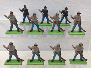 Lot Of 11 Vintage Britains Deetail Confederate & Union Troops Foot Soldiers #109