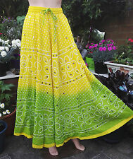 Hand Made Unique Indian Sari Sequined Yellow & Green  Boho Maxi Tall Skirt 6-12