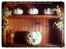 eeeks..HALLOWEEN White JACK-O-LANTERN Pumpkin JOL VTG Paper Mache Style