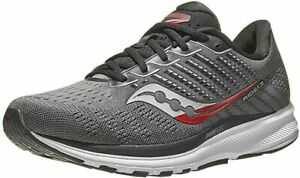 Saucony Men's Ride 13 Running Shoes, Charcoal/Red New in Box
