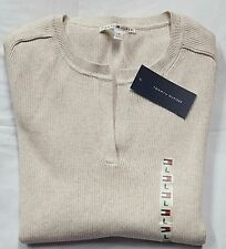 NWT TOMMY HILFIGER Womens Beige Cotton Vertical Rib V-Neck Pullover Sweater LG