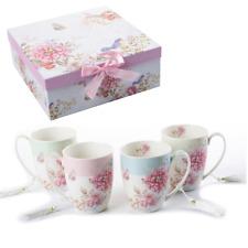 Thé Café Tasse Set4 PORCELAINE Shabby Chic OISEAU Rose Papillon Boîte Cadeau 330 ml