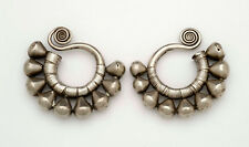 Antique tribal ethnic silver  Earrings with spiral design, Miao Dong China 1900