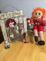 LOT Of 5 Raggedy Ann & Andy Misc Items Wall Hanging Doll Ornament Stature