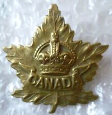 Badge- WW2 Canadian General Service Cap Badge (BRASS, Org*) 2 LUGS