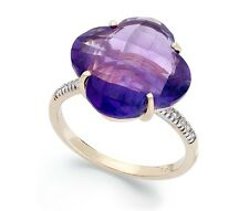 BLOWOUT SALE!! Amethyst With Diamond Accents Cocktail Ring In 14K Yellow Gold