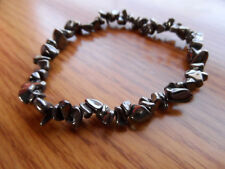 "HEMATITE Chip Stretch Bracelet Healing Properties Black Gray 7""-9"" Gypsy Indie"