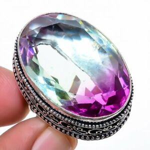 Bi-Color Tourmaline 925 Sterling Silver Jewelry Ring s.7 T2751