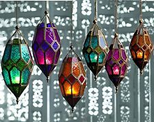MOROCCAN HANGING COLOURED TONAL GLASS LANTERN TEA LIGHT HOLDER HOME GARDEN GIFT