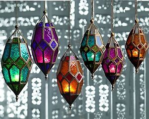 MOROCCAN HANGING COLOURED TONAL GLASS LANTERN TEA LIGHT HOLDER HOME GARDEN GIFT