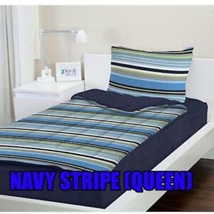 ZIPIT Bedding Set, Navy Stripes (Queen)
