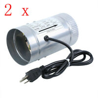 2 pcs 4 Inch Inline Duct Booster Fan Air Exhaust Ventilation Blower Grow Vent