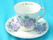 """""""Sister-In-Law"""" Tea Cup & Saucer, Wild Purple Violets, Made In USA !"""