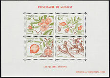 1989 MONACO BLOC N°44** BF SAISONS Fruits Grenadier, Pomegranate tree Sheet MNH