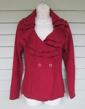 Elena Solano Deep Red Boiled Wool & Ribbed Cardigan Ruffle Collar Sweater  S