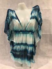 MIKEN Beach Swim Vacation Cruise Cover-up Sheer Blue Flutter Tunic Dress 14 XL