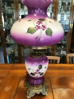 Antique Hurricane Gone with the Wind Lamp, Handpainted Purple Large Glass Shade