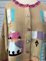 NWT StoryBook Knits Cafe Coffee Tea Cardigan Plus New Novelty XXL 2XL Sweater