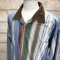 Vintage DOCKERS Levi's INDIGO 2XL XXL  Cotton Long Sleeve Striped Color Dress