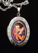 Snow White Apple Disney Silver Children's Locket and Necklace Purple Cute Kitsch