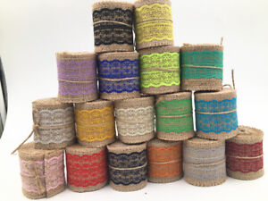 2M Wedding Party Decor Rustic Vintage Lace Edged Jute Hessian Burlap Ribbon Roll