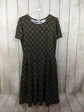 LuLaRoe Womens Plus Size 2XL Yellow Black Geometric Amelia Dress Pockets